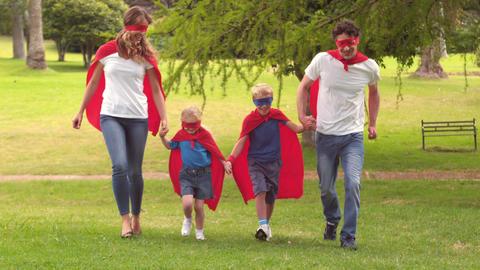 Family pretending to be superhero Footage