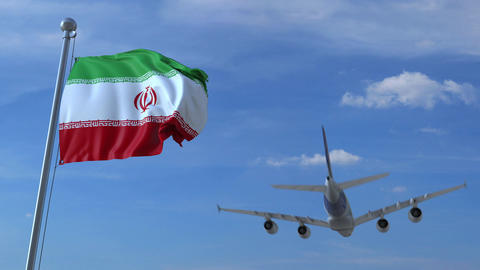 Airplane flying over waving flag of Iran Filmmaterial