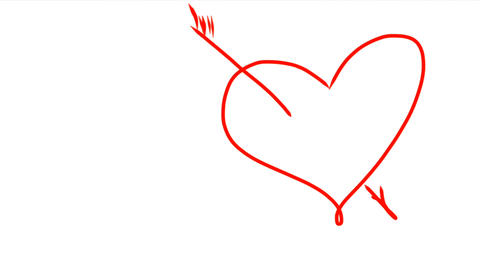 Arrow went straight through heart. Hand drawing of red heart with arrow. Drop of ビデオ