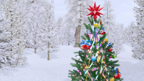 Outdoor decorated christmas tree in snowy fir forest 画像