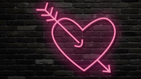 Neon light turn on pink heart and flickering with music. Neon sign heart on dark Live Action