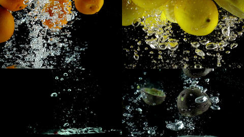 Oranges, lemons, strawberries and passion fruits slow motion Footage
