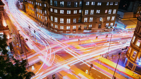 Traffic trails timelapse, London, England, UK ビデオ