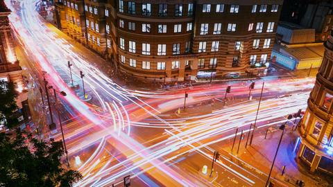 Traffic trails timelapse, London, England, UK 動画素材, ムービー映像素材