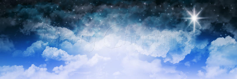 Merry Christmas Sign On Cloud Sky Background フォト
