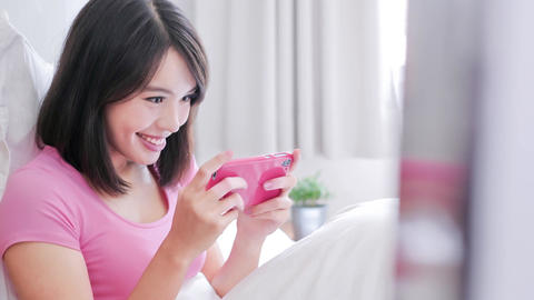 woman play mobile game Footage