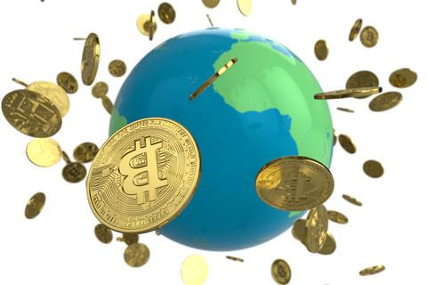 Bitcoin coin globe フォト