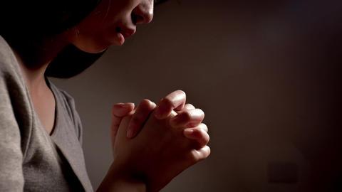 woman pray pious Footage