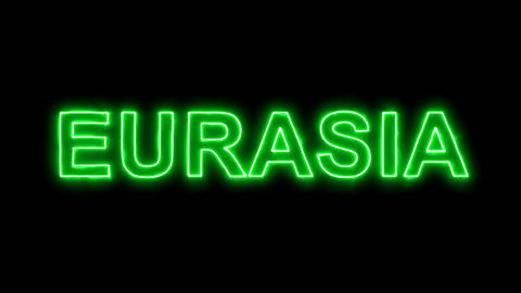 Neon flickering green continent name EURASIA in the haze. Alpha channel Animation