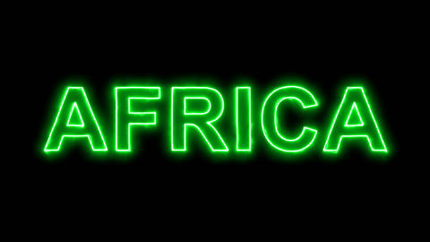 Neon flickering green continent name AFRICA in the haze. Alpha channel Animation