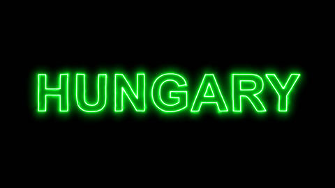 Neon flickering green country name HUNGARY in the haze. Alpha channel Animation