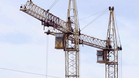 Crane working Snow Footage