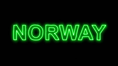 Neon flickering green country name NORWAY in the haze. Alpha channel Animation