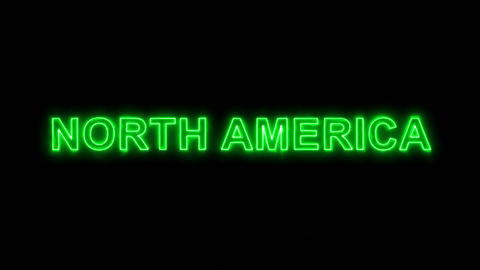 Neon flickering green continent name NORTH AMERICA in the haze. Alpha channel Animation