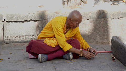 The Monk Prepares for Prayer Footage