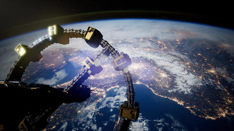 4k Flight Of The International Space Station Above the Earth Filmmaterial