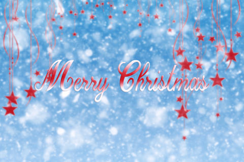 Merry Christmas Snow Background With Hanging Stars and Snowflakes フォト