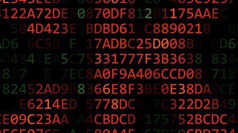 Revealing HACKING word made of flashing hexadecimal symbols on computer screen Footage