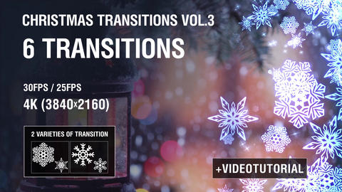 4K Christmas Snowflakes Transitions vol.3 After Effects Template