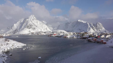 Clouds Run Quickly over the Winter Norwegian Town. Fast Motion Filmmaterial