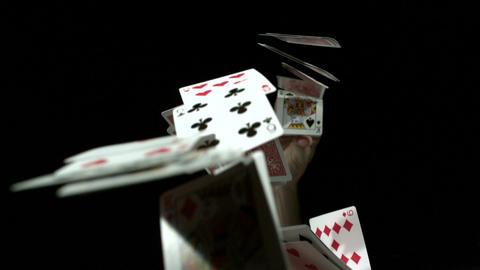 Slow motion flinging card deck Filmmaterial
