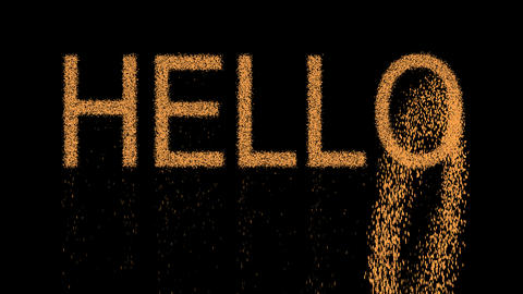 text HELLO appears from the sand, then crumbles. Alpha channel Premultiplied - Animation