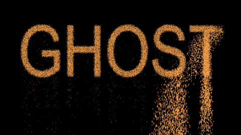 text GHOST appears from the sand, then crumbles. Alpha channel Premultiplied - Animation