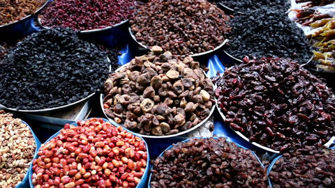 Dried Fruits Sorted On The Market Live Action