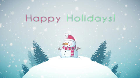 Happy Holidays Greeting Card CG動画素材