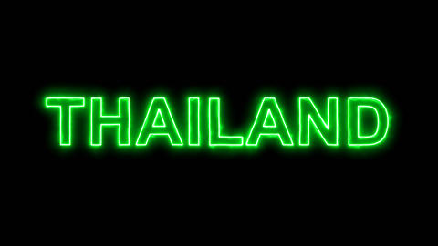 Neon flickering green country name THAILAND in the haze. Alpha channel Animation