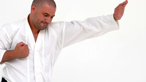 Concentrated man practicing karate Footage