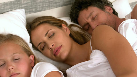 Cute family sleeping in their bed Footage