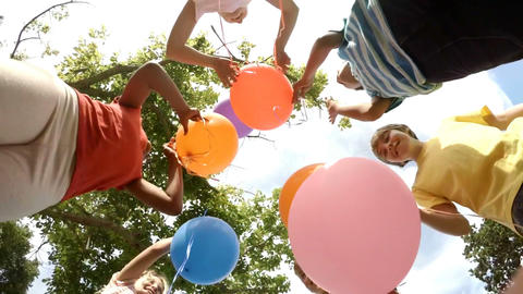 Children With Balloons stock footage