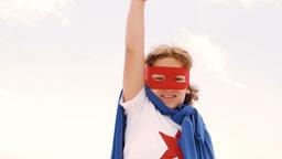 Little boy dressed as superman Footage