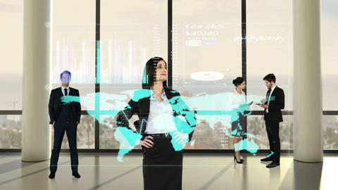 Animation of business people looking at tech interface Animation