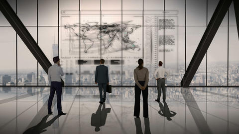 Business people standing in front of a screen Animation