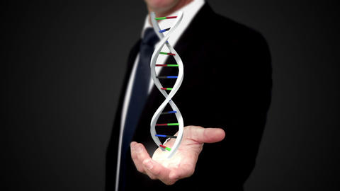 Man holding DNA in his hand Animation