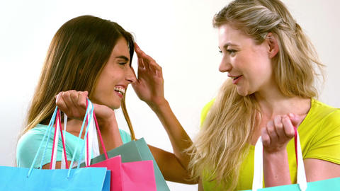 Smiling friends with shopping bags Footage