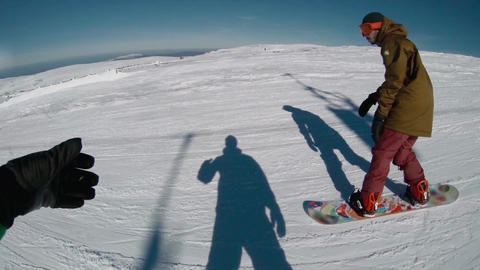 Snowboard freeriders in the mountains Footage