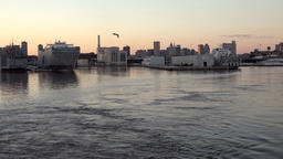 USA Maryland Baltimore city in dusk seen from water side 画像