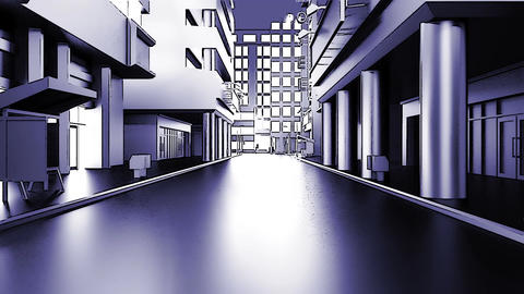 Abstract animation of a camera moving through the city buildings. Cartoon style. Animation
