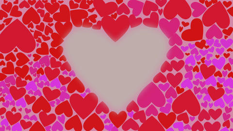 Red and lilac hearts change their color chaotically waves. Motion greeting card Footage