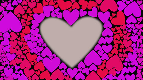 Red heart glow and change color from pink red to lilac with waves from cnter to Footage