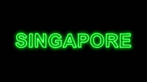 Neon flickering green country name SINGAPORE in the haze. Alpha channel Animation
