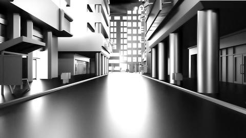 Abstract animation of a camera moving through the city buildings. Looping Image
