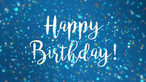 Sparkly blue Happy Birthday greeting card video Animation