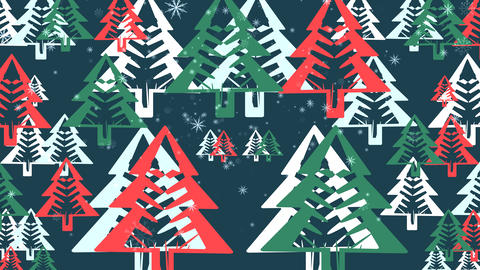 Snowflakes background Christmas tree CG動画素材