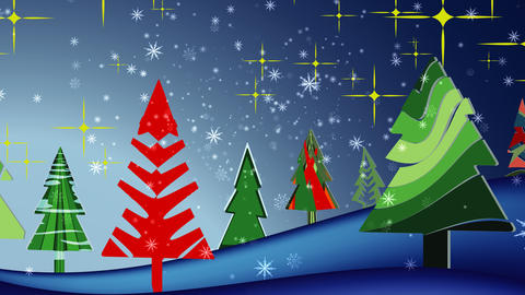Snowflakes background Christmas landscape Animation
