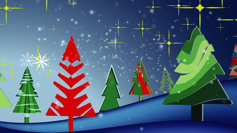 Snowflakes background Christmas landscape, Stock Animation