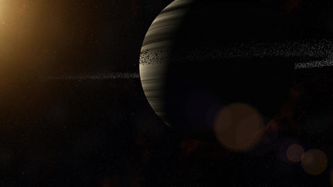 Gas giant with ring system of ice particles. Outer Space, Cosmic Art and Science Animation